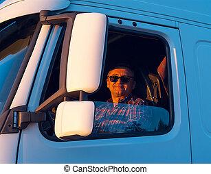 kierowca, kabina, wózek, jemu