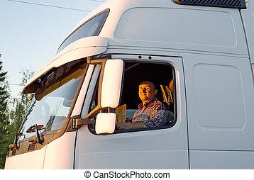 kierowca samochodu, kabina