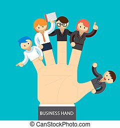 kierownictwo, handlowy, ręka., ręka, pracownik, pojęcie, fingers., otwarty
