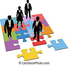 kierownictwo, handlowy zaludniają, zagadka, rozłączenie, zasoby