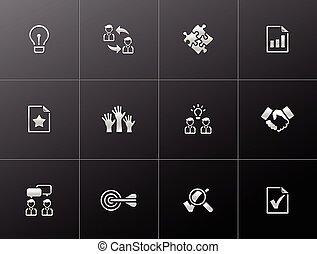 kierownictwo, -, metaliczny, ikony