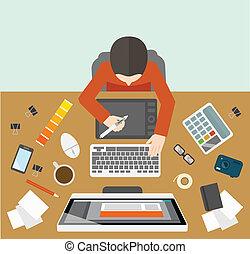 kierownictwo, projektant, miejsce pracy