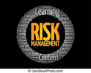 kierownictwo, ryzyko, chmura, koło, słowo