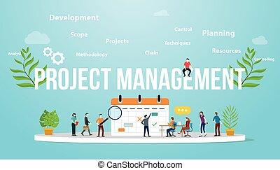 kierownictwo zaprzęg, ludzie handlowe, wektor, projekt, pojęcie, razem, kalendarz, -, spotkanie