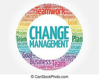 kierownictwo, zmiana, koło, słowo, chmura