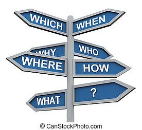 kierunek, 3d, pytania, znak