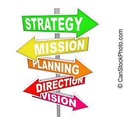 kierunek, misja, strategia, planowanie, drogowe oznakowanie, widzenie