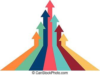 kierunek, pojęcie, powodzenie, ilustracja, powstanie, tak samo, strzała, bliski
