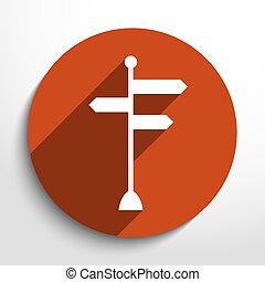 kierunkowy, wektor, ikona, znaki