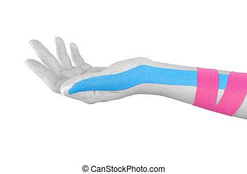 kinesio, ręka., taśma, samica