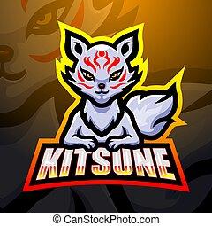 kitsune, maskotka, projektować, logo, esport