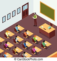 klasa, isometric, student, ilustracja, nauczyciel