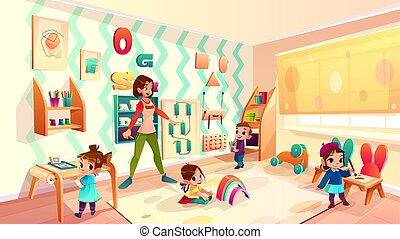 klasa, montessori, sztubacy, wektor, rysunek