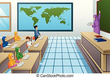 klasa, studenci, muslim, nauczyciel, ilustracja