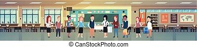 klasa, szkoła, grupa, uczniowie, nowoczesny, dzieci, zmieszać, rozmaity, prąd, wewnętrzny, poziomy, chorągiew, klasa pokój