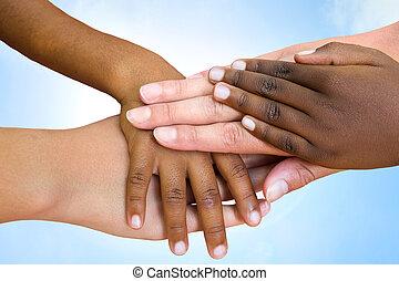 klasy, ludzki, hands., łączący