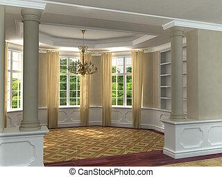 klasyk, wewnętrzny, 3d, luksusowy
