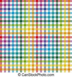 klatkowy, barwny, próbka, -, tablecloth, bez końca