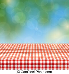 klatkowy, piknik, natura, próbka, ilustracja, zamazany, płótno, wektor, tło, stół, tablecloth, czerwony
