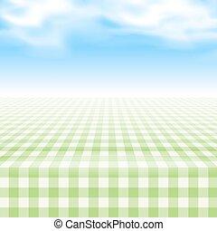 klatkowy, piknik, opróżniać, pokryty, stół, tablecloth.