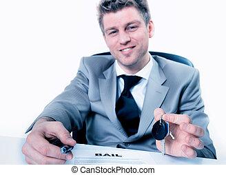 klawiatura, dzierżawa, znak, na, proponuje, wręczając, pośrednik w sprzedaży nieruchomości