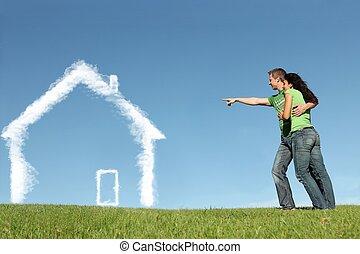 klienci, pojęcie, dom, pożyczka, hipoteka, nowy dom