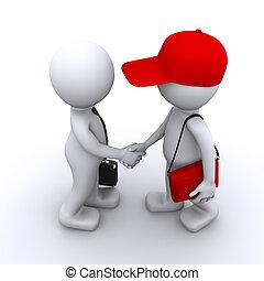 klient, biznesmen, 3d, potrząsające ręki