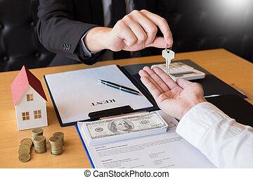 klient, domy, sprzedajcie, stan, udzielanie, dom, concept., porozumienie, przedstawiciel, znak, klawiatura, sprzedaż, posiadanie, kupno