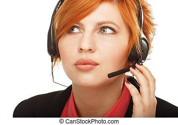 klient, głowa wystawiają, środek, służba, poparcie, pracownik, rozmowa telefoniczna, reprezentant, samica, portret, operator, closeup, albo, rozmawianie, personel
