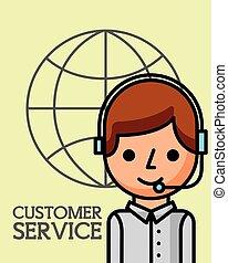 klient, handlowy, służba, operator, świat, człowiek