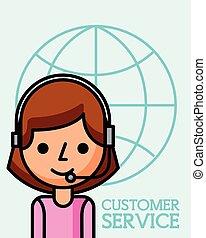 klient, kobieta handlowa, służba, operator, świat