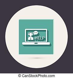 klient, laptop, poparcie