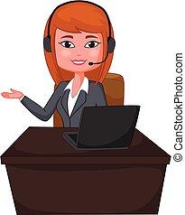 klient podtrzymują, kobieta handlowa, słuchawki