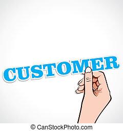 klient, słowo, ręka