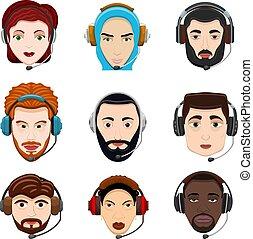 klient, słuchawki, styl, komplet, środek, służba, ludzie farbują, poznaczcie., mężczyźni, różny, ilustracja, team., kobieta, rozmowa telefoniczna, rysunki, narodowości, praca, wektor, rysunek, avatar