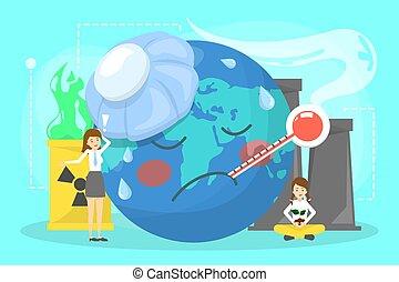 klimat, concept., globalny, idea, zmiana, ocieplać