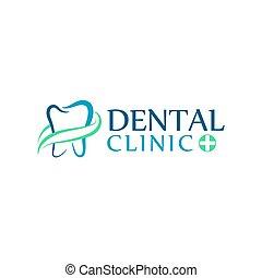 klinika, stomatologiczna troska, dentystyka, logo, zęby, ikony, abstrakcyjny, kids.
