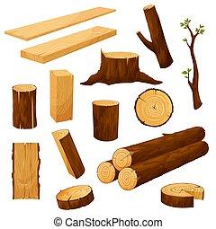 kloc, budulec, drewniany, materiały, odziomek, wektor
