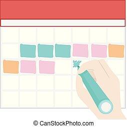 kloc, kolor, ręka, pełny, marka, ilustracja, kalendarz