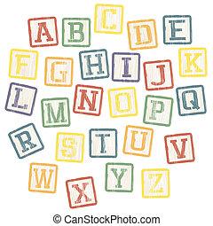 kloce, alfabet, wektor, eps8, collection., niemowlę
