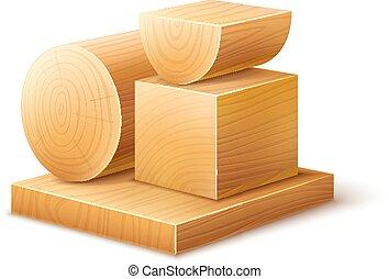 kloce, drewniany, formuje, różny, workpieces, woodworks