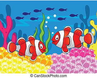 klown, rysunek, fish
