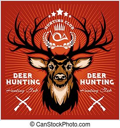 klub, emblematy, deers, polowanie, set.