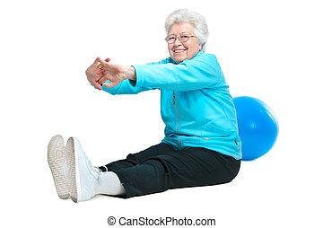 klub, pociągający, zdrowie, starsza kobieta