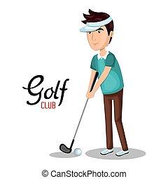 klub, sport, golf, ikona