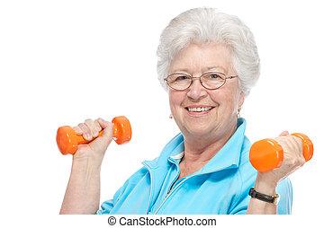 klub, starsza kobieta, zdrowie, pociągający