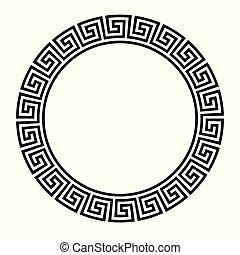 klucz, border., okrągły, koło, grek, assyrian, motives, frame., typowy, egipcjanin