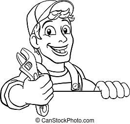 klucz do nakrętek, mechanik, rysunek, szarpnąć, majster do wszystkiego, instalator