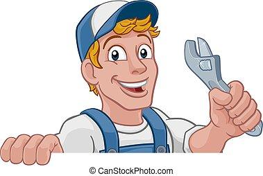 klucz do nakrętek, szarpnąć, instalator, rysunek, mechanik, majster do wszystkiego