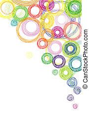 koła, abstrakcyjny, barwne tło